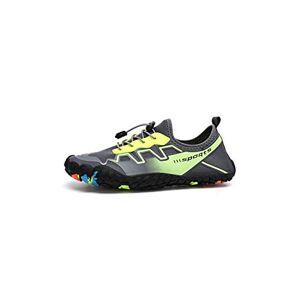 Winter-Story-Water Shoes Zapatillas de Agua elásticas de Secado rápido, Antideslizantes, Transpirables, Ligeras, para Surf, Playa, Gris, Verde, 5 US