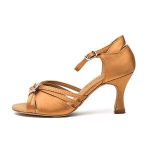 CGSWDZA Zapatillas De Baile Latino Satinadas GB con Suelas De Cuero Y Diamantes Duraderos Y Transpirables para Adultos, Eu34, Marrón / 7.5Cm