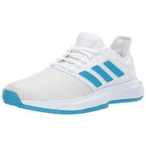 Adidas Gamecourt para Mujer, White/Shock Cyan/Matte Silver, 10 M US