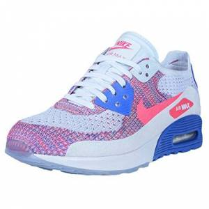 Nike Women's Wmns Air MAX 90 Ultra 2.0 Flyknit, White/Racer Pink-Medium Blue, 6 M US