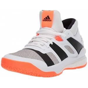 Adidas Men's Stabil X Mid Volleyball Shoe, White/Black/Solar Orange, 6.5 M US