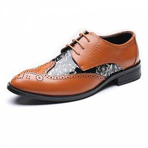 Cuero Zapatos Zapatos Brogue Mocasines para Hombres Punta de ala Hueco Talla Empalme Suave Estampado de Flores de PU Cordones con Cordones Oxford Forrado UP Transpirable