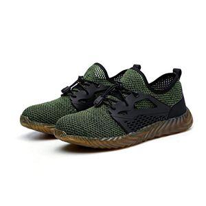 Gurnall Zapatos de seguridad para hombre (punta de acero, antideslizantes) para hombre, zapatos de trabajo indestructibles a prueba de pinchazos, construcción industrial, Verde, 8 US