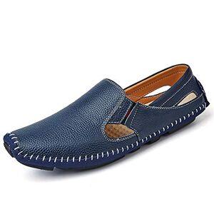 XIANGBAO-Personality -Personalidad Hombres, cómodos, Mocasines, Casual y de Moda, Verano, Hueco, Cuero Transpirable, Mocasines para Barcos (Color : Azul, tamaño : 27)