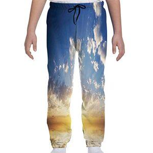 GULTMEE Pantalones de chándal para jóvenes, diseño de Escena de Atardecer en la Playa y Silueta romántica de Luna de Miel, impresión fotográfica de día Festivo, S-XL, de colores2, X-Large