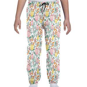 GULTMEE Pantalones de chándal para jóvenes, románticos, Coloridos, Bayas de Rowan, Flores, Primavera, Amapolas, diseño de Tema de Arte en el jardín, S-XL, de colores1, Medium