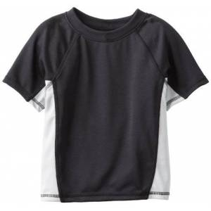 Kanu Surf Little Boys' Toddler Color Block Swim Shirt, Black, 3T