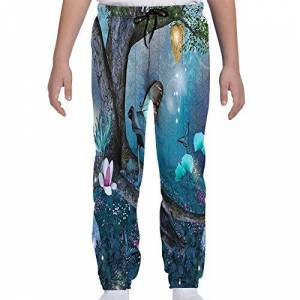 GULTMEE Pantalones de chándal para jóvenes, diseño de Bosque Encantado con Mariposas y Hongos, de colores2, X-Large
