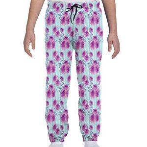 GULTMEE Pantalones de chándal para jóvenes, diseño Abstracto de crisantemos artísticos de Primavera, inspirados en Flores, S-XL, de colores1, Small