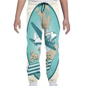 GULTMEE Pantalones de chándal para jóvenes, Abstractos, clásico, artísticos de Bon Voyage, Texto y avión Retro en Globo, S-XL, de colores1, Medium
