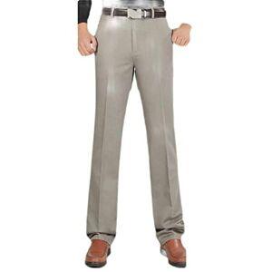 Cromoncent Hombres Pierna Recta Casual Grande y Alto elástico Classic Pantalones de Negocios Gray 3XL