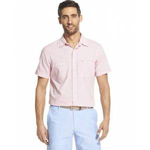 IZOD Camisa de Manga Corta para Hombre con Botones en el Lado del Muelle para Agua Salada, Rosa (Rapture Rose), XXX-Large Grandes