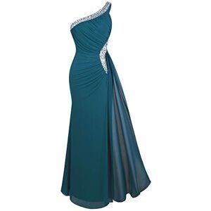 Angel-fashions Mujer Un Hombro Vestidos de Noche Plisado Medium Dark Green