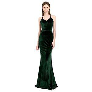 BessWedding Vestidos de Fiesta de Terciopelo clásico para Mujer, Maxi Slip, para Noche, graduación, ocasión Formal, Verde esmeralda2, 14