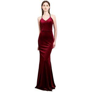 BessWedding Vestidos de Fiesta de Terciopelo clásico para Mujer, Maxi Slip, para Noche, graduación, ocasión Formal, Borgoña2, 14