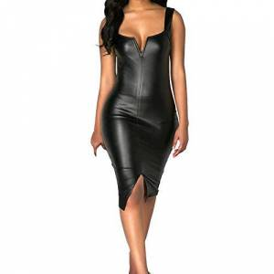 Women Dresses Hechun Vestidos de Piel sin Mangas con Cuello en V para Mujer, Negro, M