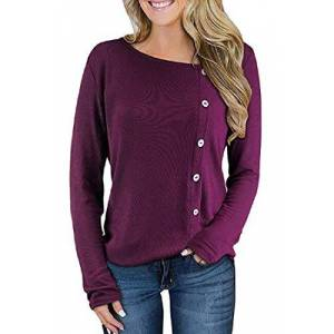 MOUTEN Mujeres Camisetas de Color sólido Botones Trim Crewneck Manga Larga Top Camiseta Blusa Blusa Purple M