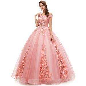 OkayBridal Okaybrial 16 Quinceanera Vestido para Mujer (Manga Corta), Rosado, 4