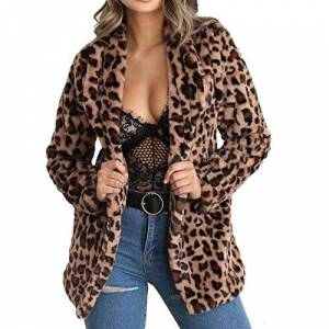 Gets Leopard Chamarra de Piel sintética para Mujer (Forro Polar), B-Leopard, S