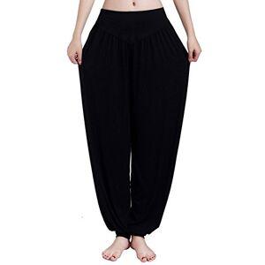 BOZEVON Mujer Pantalones de Yoga Pantalones Deportivos Algodón Modal Harem Pantalón Polainas para Danza, Yoga, Ganduleado, Fitness (Negro,US XS = Tag S)