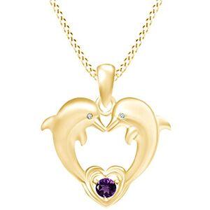 AFFY Christmas SaleTwo Collar con Colgante de corazón de Delfines en Oro Amarillo de 14 K sobre Plata de Ley