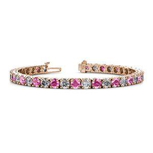 TriJewels Pulsera de tenis de 4 mm de zafiro y diamante para mujer, oro rosa de 14 quilates