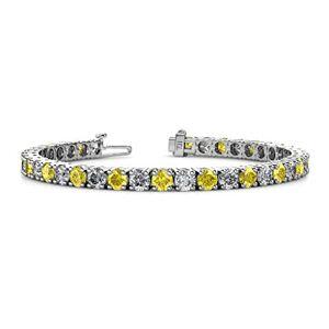 TriJewels Pulsera de tenis de 4 mm de zafiro y diamante para mujer, oro blanco de 14 quilates