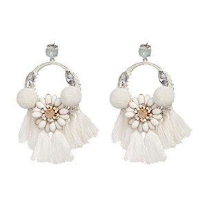Beenle Icey-earrings Aretes grandes de primavera para mujer, de algodón, con borlas, con diseño de flores y perlas