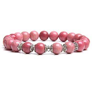 YITIANTIAN Pulsera de cuentas de piedra de rodocrosita natural, pulsera con cuentas de flores, joyería de yoga de energía para mujeres