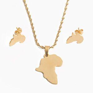 CLEARNICE Acero Inoxidable Oro Color Africa Mapa Colgante Collar Pendientes para Mujeres Mapas Africanos Conjuntos De Joyería