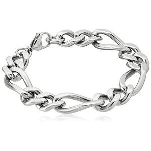 Crucible Jewelry Pulsera de Cadena Figaro de Acero Inoxidable Pulido para Hombre, 22 cm, Color Blanco