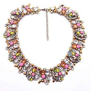 XINXIA Accesorios de las mujeres de la moda del collar del babero del cristal colorido el regalo ideal para las mamáes, las hermanas y los amigos, amarillo claro