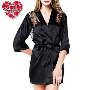Dooy Lencería Sexy Rosa Negra, Pijama de Perspectiva de Albornoz casero (Negro, L)
