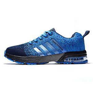 Yoyozi Zapatillas de Correr para Hombre, Transpirables, de Malla, para Exteriores, Atletismo, Talla Grande, Azul, 6 US