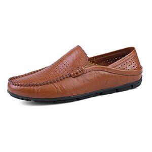 CHENXD Zapatos, Moda para Hombre Conducción LoaferWave Sole Suave y súper Ligero Slip On Boat Mocasines (Color : Brown Hollow, tamaño : 29.5)