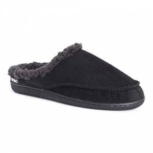 MUK LUKS Zapatillas de Pana para Hombre, Negro, 12-13 US