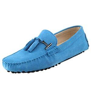 TDA Mocasines para hombre, con borlas, gamuza, Celeste (Baby Blue), 6.5 US