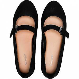 Aukusor Aukfor, Zapatos Planos Anchos para Mujer Zapatos de Ballet Planos con Hebilla y Puntera Puntiaguda, Blackmf, 6.5W US