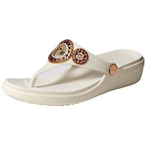 Crocs Sanrah Diamante Chanclas con cuña para Mujer, Oyster/Rose Gold, 5 M US