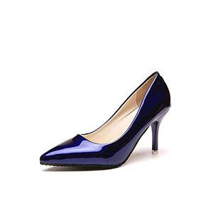 ALIYOUR Zapatos de Mujer Punta Estrecha Bombas Vestido de Cuero de Patente de los Altos Talones de los Zapatos del Barco Zapatos de Boda Azul Atractivo, Azul 7cm, 6