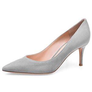 JiaBinji Mujeres Bombas Stiletto Tacón Alto Puntera Zapatos de Boda 6.5cm Tacón Zapatos Gamuza 25.5 cm Gris
