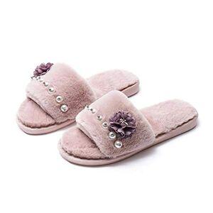 Ches-Slipper Pantuflas de Felpa con diseño de Rosas de algodón para Zapatos cálidos, Zapatos Casuales para Zapatos de Felpa, Rosado Claro, 5 US