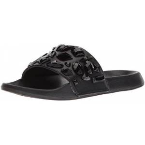 LFL by Lust for Life Women's LL-Stoned Flat Sandal, Black, 5 Medium US