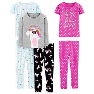 Simple Joys by Carter's Baby, Little Kid, and bebé Girls' Juego de Pijama de algodón de Ajuste cómodo de 6 Piezas, Unicorn/Dots/Turtle, 2T