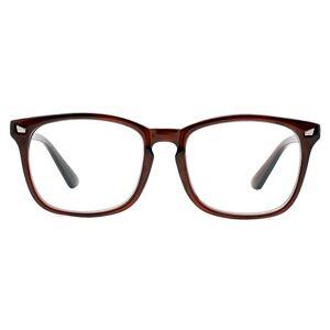 Cyxus lentes transparentes vidrios ordinarios clásico moda marco gafas unisexo(hombres/mujeres) ligeras cómodas (marco marrón)