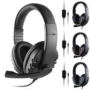 OhhGo Auriculares para Juegos Auriculares Estéreo con Sonido Envolvente 3. Cable de 5 Mm con Micrófono para Ps4 / Xbox-One / Pc