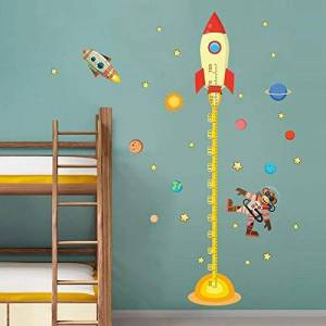 RONGAN DIY Outer Space Planet Monkey Pilot Rocket Home Decal Height Measure Wall Sticker For Kids Room Baby Nursery Growth Chart Gifts