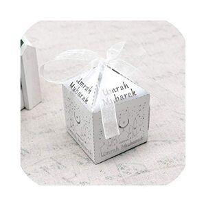 Brilliant-store 10 Cajas de Regalo de Papel con diseño de Eid Mubarak, Color Dorado y Plateado, Mubarak Umrah Blanco, Tamaño