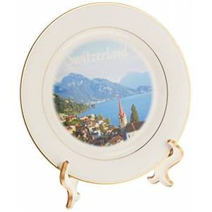 3dRose cp_155661_1 Switzerland Tourist Travel Souvenir Swiss Landscape Photo of Pretty Lake Town Weggis Near Lucerne Porcelain Plate, 8-Inch