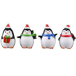 SUPVOX 4 Piezas Figura de pingino Adorno navideño Micro Paisaje Foto Accesorios Oficina hogar Escritorio decoración Regalos